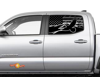 Toyota Tacoma 4Runner Tundra Hardtop USA Flag Mountain Eagle Windshield Decal JKU JLU 2007-2019 or  Dodge Challenger Charger Subaru Ascent Forester Wrangler Rubicon - 118
