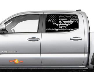 Toyota Tacoma 4Runner Tundra Hardtop USA Flag Mountain Eagle Windshield Decal JKU JLU 2007-2019 or  Dodge Challenger Charger Subaru Ascent Forester Wrangler Rubicon - 119
