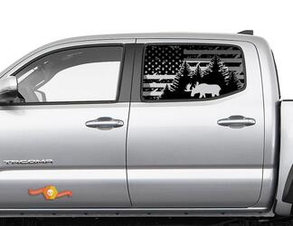 Toyota Tacoma 4Runner Tundra Hardtop USA Flag Destroyed Moose Windshield Decal JKU JLU 2007-2019 or Dodge Challenger Charger Subaru Ascent Forester Wrangler Rubicon - 122