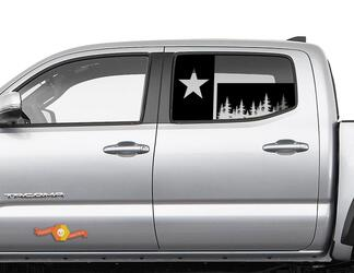 Toyota Tacoma 4Runner Tundra Hardtop Flag Texas Forest Windshield Decal JKU JLU 2007-2019 or Dodge Challenger Charger Subaru Ascent Forester Wrangler Rubicon - 127