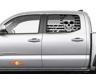 Toyota Tacoma 4Runner Tundra Hardtop Flag USA Skull Windshield Decal JKU JLU 2007-2019 or Dodge Challenger Charger Subaru Ascent Forester Wrangler Rubicon - 138