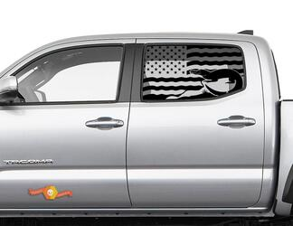 Toyota Tacoma 4Runner Tundra Hardtop Flag USA Alligator Windshield Decal JKU JLU 2007-2019 or Dodge Challenger Charger Subaru Ascent Forester Wrangler Rubicon - 139