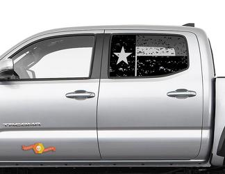 Toyota Tacoma 4Runner Tundra Hardtop Flag Texas Destroyed Windshield Decal JKU JLU 2007-2019 or Dodge Challenger Charger Subaru Ascent Forester Wrangler Rubicon - 142