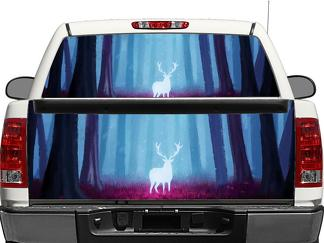 Deer Moose in the violet forest Autumn Rear Window OR tailgate Decal Sticker Pick-up Truck SUV Car