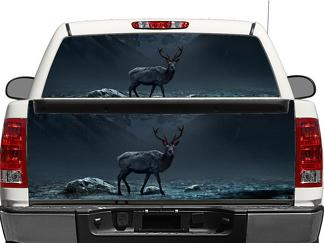 Deer Moose with Red eyes Rear Window OR tailgate Decal Sticker Pick-up Truck SUV Car