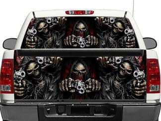Skull Death Pistols Rear Window OR tailgate Decal Sticker Pick-up Truck SUV Car