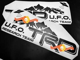 Pair of TRD UFO Research Team Side Vinyl Decals Stickers for Toyota Tacoma