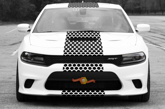 2015 & Up Dodge Challenger SRT / HELLCAT Style Solid Strip Honeycomb Rally Stripe Decal Kit