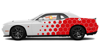 2015 & Up Dodge Challenger SRT / HELLCAT Side Honeycomb Rally Splash Decal Kit
