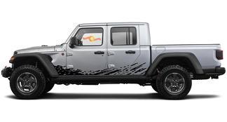 Grunge Splash Sporen van Dirt voor Rocker Panel voor Jeep Gladiator 2019 2020 2021 voor beide kanten