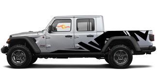 Paar Jeep Gladiator Side Grunge Splash Decals Vinyl Graphics Stripe Kit für 2020-2021 für beide Seiten