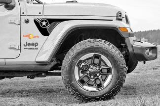 Paar Jeep Gladiator Side JT Wrangler JL JLU Gravity Army Star USA Style Extended Fender Vent Blackout Vinyl Decal Sticker Graphics Kit voor 2018-2021 voor beide kanten