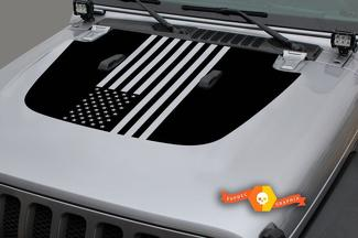 Jeep Gladiator Side JT Wrangler JL JLU Hood USA Flag style Vinyl decal sticker Graphics kit for 2018-2021