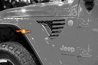 Pair of Jeep Gladiator Side JT Wrangler JL JLU Gravity Destroyed Flag USA Style Fender Vent Blackout Vinyl decal sticker Graphics kit for 2018-2021