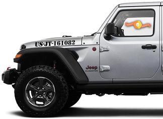 Paar Jeep Gladiator Side JT Wrangler JL JLU Custom Text Hood Belettering Graphics Vinyl Decal Sticker Graphics Kit voor 2018-2021