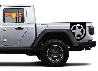 Pair of Jeep Gladiator Side Door Stripes Star  Destroyed Decals Vinyl Graphics Stripe kit for 2020-2021 for both sides