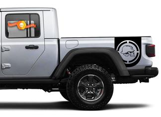 Pair of Jeep Gladiator Side Door Stripes Army Star Aim Decals Vinyl Graphics Stripe kit for 2020-2021 for both sides