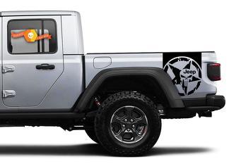 Paar Jeep Gladiator Zijde Deur Strepen Star Vernietigde Punisher Decals Vinyl Graphics Stripe Kit voor 2020-2021 voor beide zijden