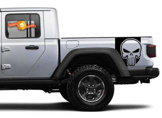 Pair of Jeep Gladiator Side Door Stripes Star Punisher Decals Vinyl Graphics Stripe kit for 2020-2021 for both sides