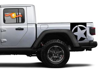 Pair of Jeep Gladiator Side Door Stripes Star Decals Vinyl Graphics Stripe kit for 2019 2020 2021 for both sides