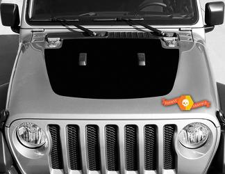 Jeep Gladiator JT Wrangler JL JLU Hood Solid style Vinyl decal sticker Graphics kit for 2018-2021