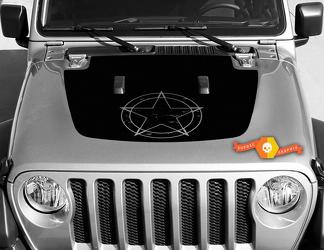 Jeep Gladiator JT Wrangler JL JLU Hood Military Star style Vinyl decal sticker Graphics kit for 2018-2021