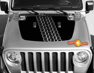 Jeep Gladiator JT Wrangler JL JLU Hood Tire Tracks style Vinyl decal sticker Graphics kit for 2018-2021