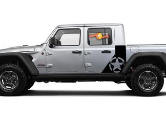 Jeep Gladiator Side War Destroyed Star decal Factory Style Body Vinyl Graphic Stripes Kit 2018-2021