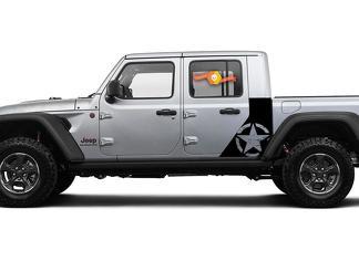 Jeep Gladiator Side War Zerstörter Stern Aufkleber Fabrik Stil Körper Vinyl Grafik Streifen Kit 2018-2021