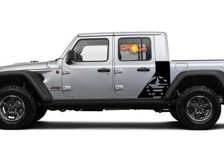 Jeep Gladiator Side War Flag USA Star decal Factory Style Body Vinyl Graphic Stripes Kit 2018-2021