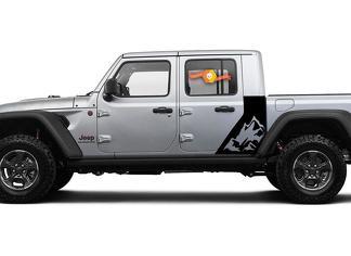 Jeep Gladiator Side Mountains decal Factory Style Body Vinyl Graphic Stripes Kit 2018-2021