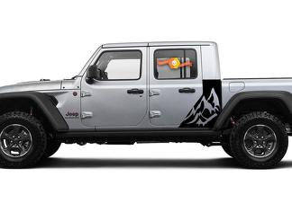Jeep Gladiator 2 Side Mountains decal Factory Style Body Vinyl Graphic Stripes Kit 2018-2021