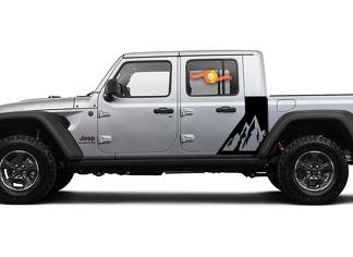 Jeep Gladiator 2 Side Mountains decal Factory Style Body Vinyl Graphic Stripes Kit 2018 - 2021