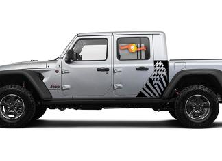 Jeep Gladiator Side Flag USA Destroyed decal Vinyl Sticker Factory Style Body Vinyl Graphic Stripes Kit 2018-2021