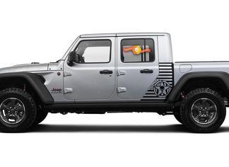Jeep Gladiator Side Flag USA Punisher MilitarySrar Decal Vinyl Sticker Fabriek Stijl Body Vinyl Graphic Stripes Kit 2018-2021