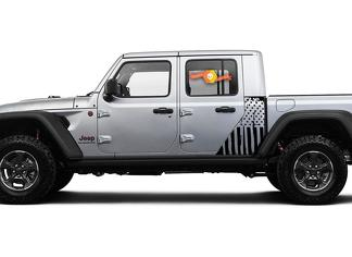Jeep Gladiator Side Flag USA  Military Destroyed decal Vinyl Sticker Factory Style Body Vinyl Graphic Stripes Kit 2018-2021