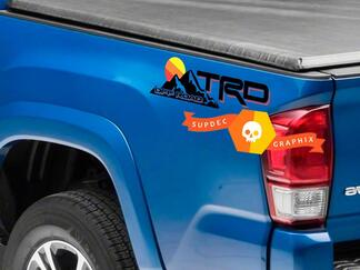 Pair of TRD Off Road Vintage Old Style Sunset Style Bed Side Vinyl Stickers Decal Toyota Tacoma Tundra FJ Cruiser