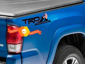 Pair of TRD Off Road Mountains USA Flag Sunset Style Bed Side Vinyl Stickers Decal Toyota Tacoma Tundra FJ Cruiser