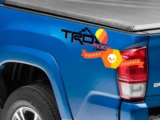 Pair of TRD 4x4 Limited Mountains Line Vintage Old Style Sunset Line Style Bed Side Vinyl Stickers Decal Toyota Tacoma Tundra FJ Cruiser