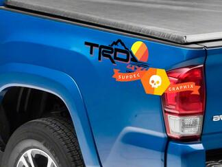 Pair of TRD 4x4 Off Road Mountains Line Vintage Old Style Sunset Line Style Bed Side Vinyl Stickers Decal Toyota Tacoma Tundra FJ Cruiser