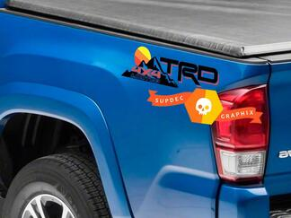 Pair of TRD 4x4 Limited Mountains Vintage Old Style Sunset Line Style Bed Side Vinyl Stickers Decal Toyota Tacoma Tundra FJ Cruiser