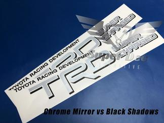 Pair of TRD Super Charged Silver Chrome Mirror with Black Shadows Toyota Racing Development bed side Truck decals