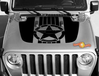 Jeep Gladiator JT Wrangler Military War Star JL JLU Hood style Vinyl decal sticker Graphics kit for 2018-2021