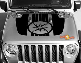 Jeep Gladiator JT Wrangler Military Compass Wind Rose JL Jlu Hood Style Vinyl Decal Sticker Graphics Kit voor 2018-2021