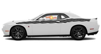 Pair of Dodge Challenger Full Length Style Bodyline Strobe Racing Stripe Kit for 2008 & Up #12
