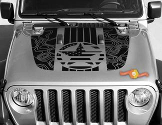 Jeep Gladiator JT Wrangler Military Star Flag USA Topographic Map JL JLU Hood style Vinyl decal sticker Graphics kit for 2018-2021
