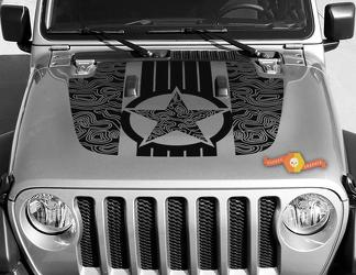 Jeep Gladiator JT Wrangler Military Star Topographic Map JL JLU Hood style Vinyl decal sticker Graphics kit for 2018-2021