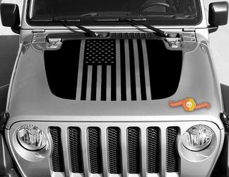 Jeep Gladiator JT Wrangler Flag USA  JL JLU Hood style Vinyl decal sticker Graphics kit for 2018-2021