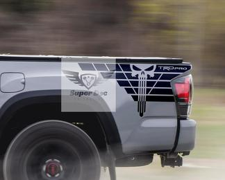 Pair of TRD Punisher Bed Side Vinyl Decals Kit Stickers for Tacoma Pro Sport Off Road 4x4