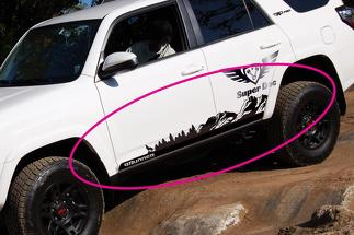 Side Mountains Trees and Wolf travel Vinyl Sticker Decal fit to TRD PRO 4Runner 13 - now